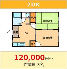遺品整理費用2DK120000円~