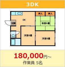 遺品整理費用3DK180000円~